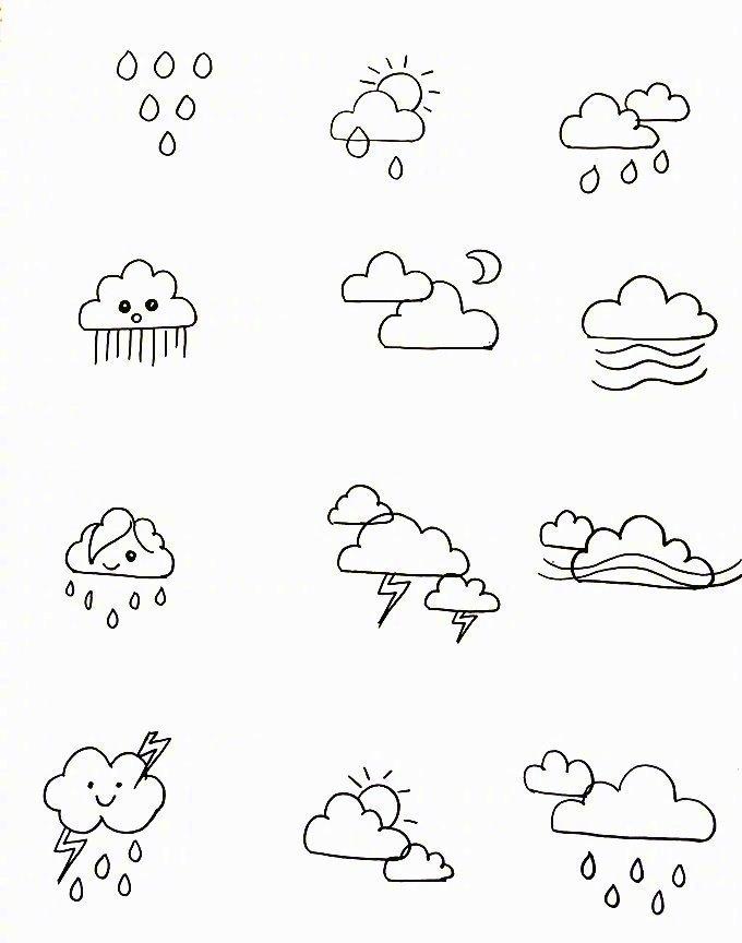 各种天气简笔画的小素材,需要的mark