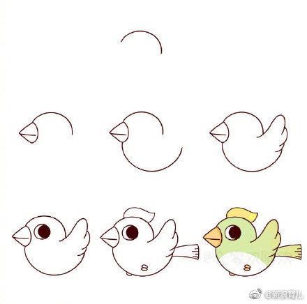 一组萌萌的简笔画小鸟,孩子们的最爱!快快收藏