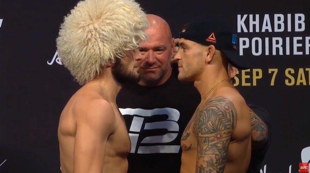 UFC242官方称重,轻量级冠军统一战, 小鹰哈比布vs钻石普瓦里尔