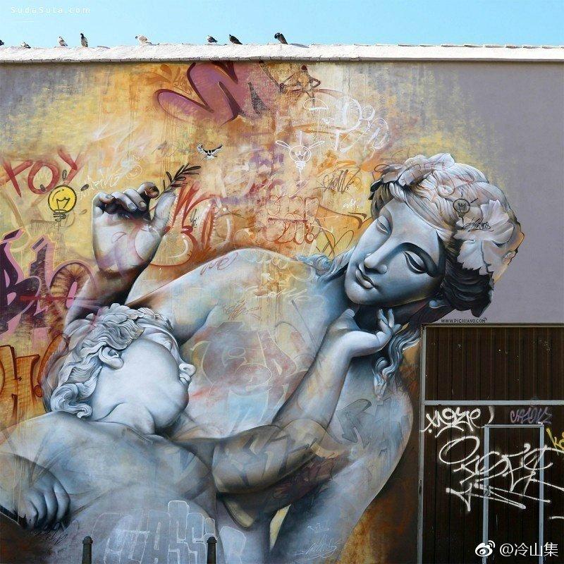 来自西班牙街头艺术二人组 Pichi & Avo 的希腊古典雕塑涂鸦艺术壁画