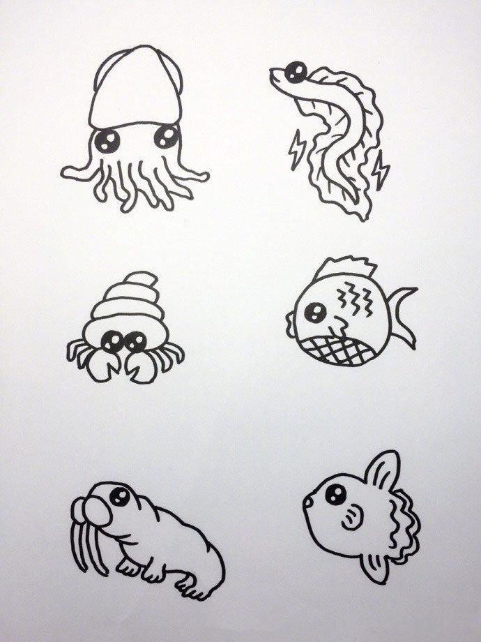 简笔画超萌海洋生物合辑