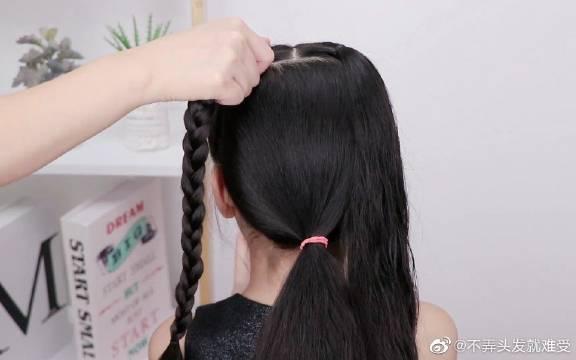 给宝宝编过很多种爱心发型,还是这种扎法最简单好看!