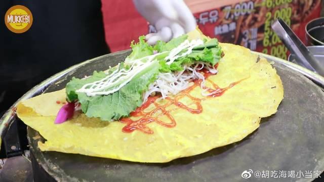 中国街头小吃在韩国——改良版煎饼果子