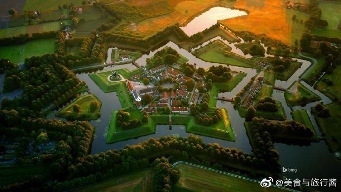 一个五角星形的小镇荷兰 bourtange
