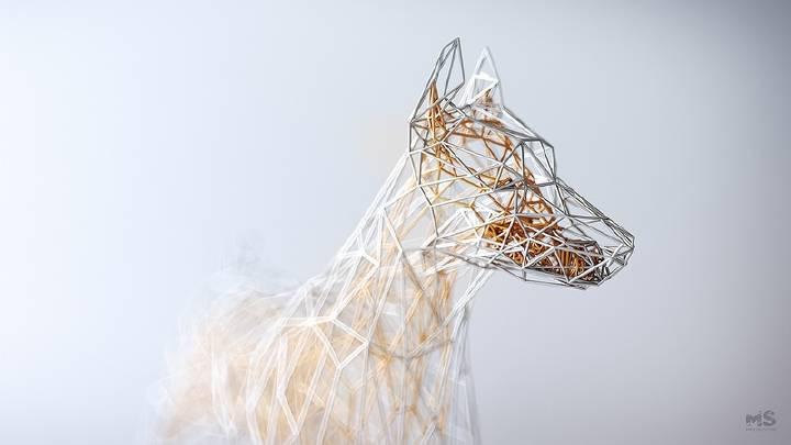 虚拟铁丝网构建出的动物轮廓雕塑 | 波兰数字艺术家 Mat Szulik