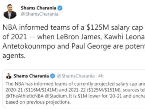 NBA名记透露新工资帽!仅三人有资格获顶薪,詹皇领衔没有卡哇伊