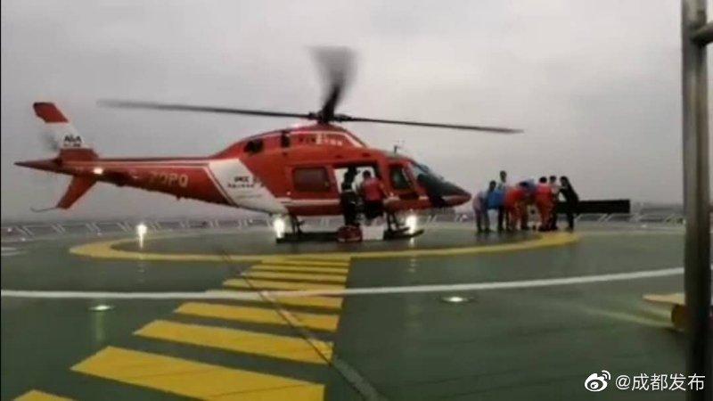 长宁地震重伤患者 直升机紧急转运成都治疗