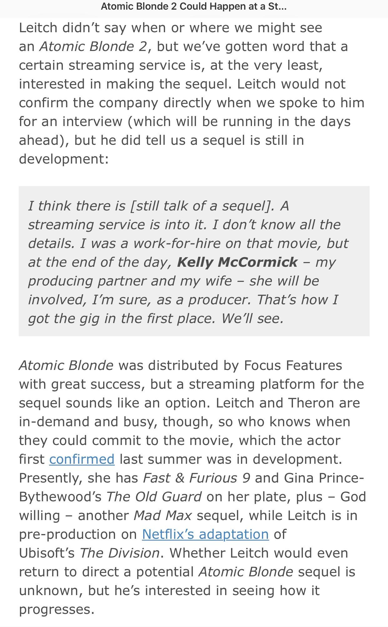 塞皇生日刚好看到这消息,导演大卫·雷奇 说《极寒之城2》还有希望