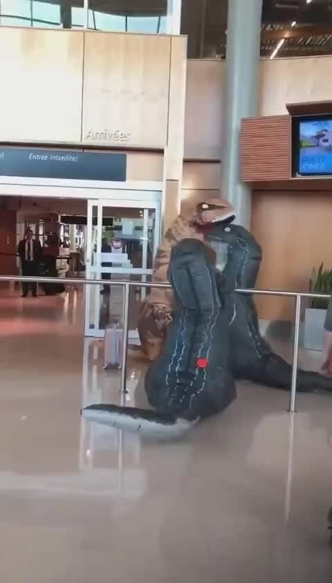 史上最可爱的接机!外国两个孩子扮成恐龙等待接爸爸