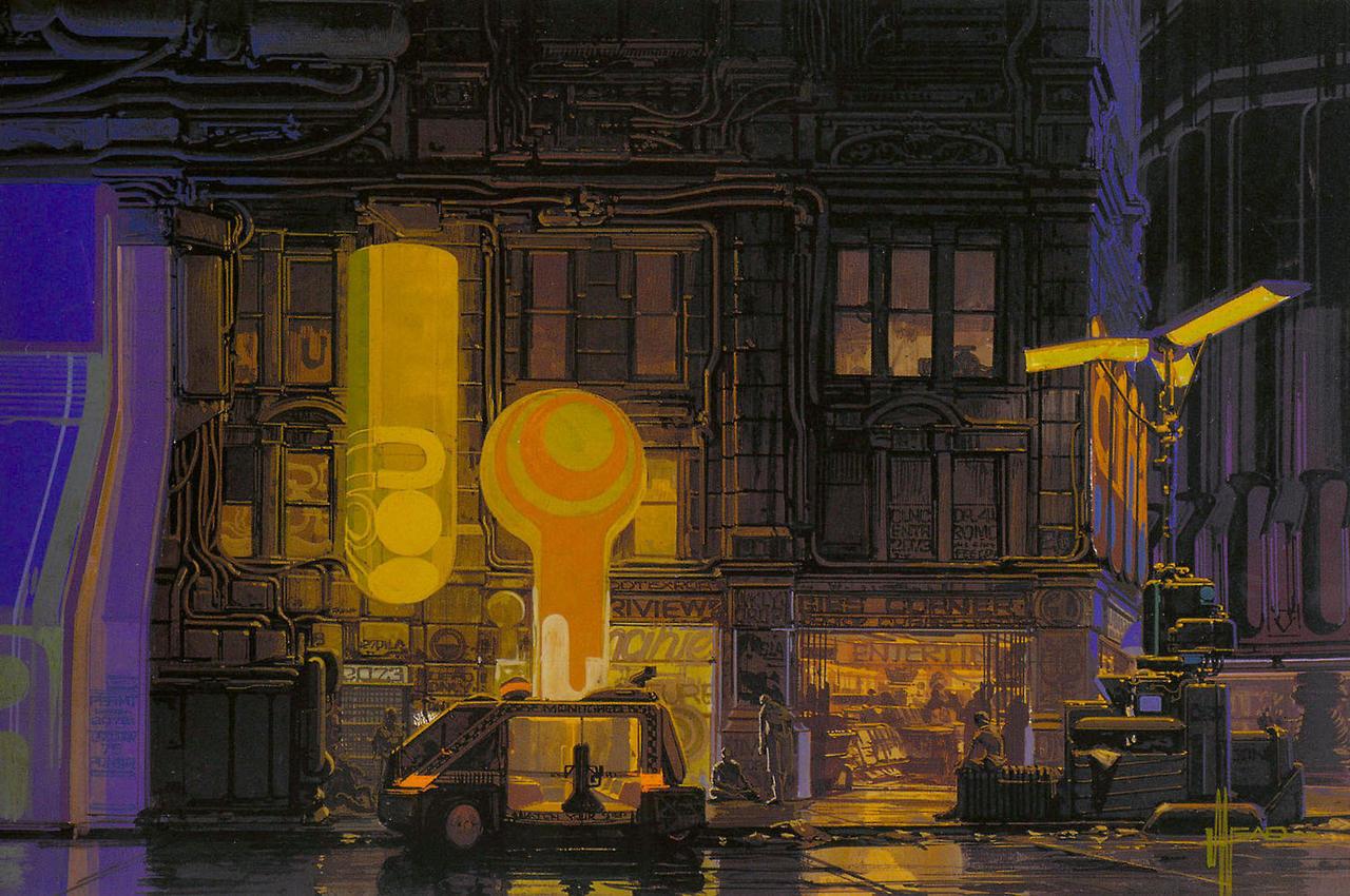 银翼杀手 BLADE RUNNER.1982. concept art by Syd Mead.
