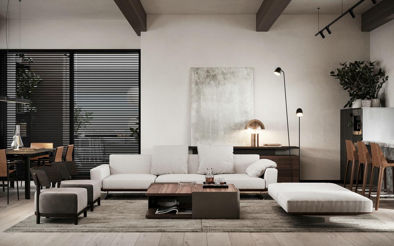 现代简约时尚家居设计风格裸粉窗帘的点缀让现代感十足的空间增添了
