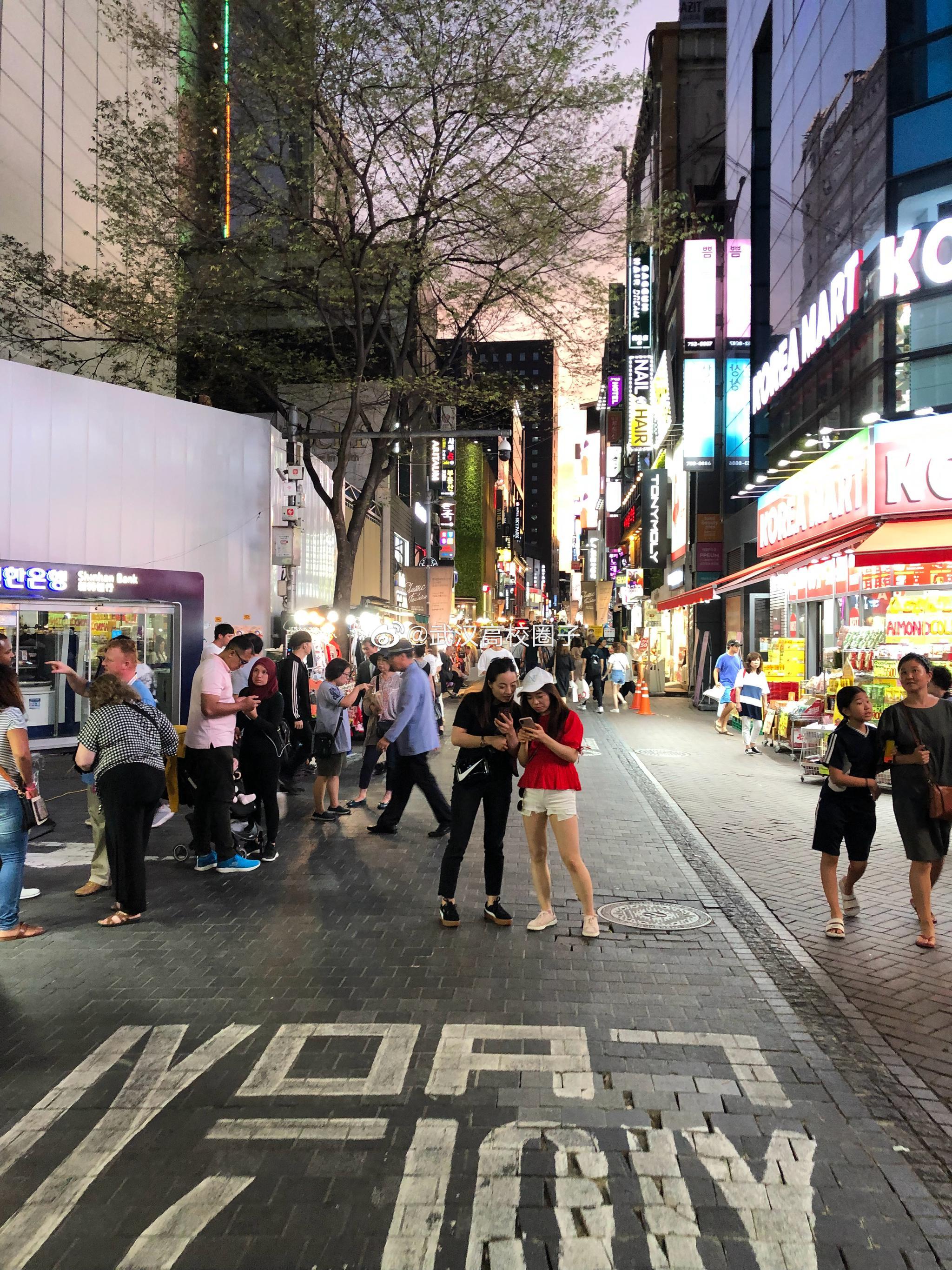 """韩国的""""武汉江汉路"""",非常热闹  @韩国旅游发展局武汉办事处"""