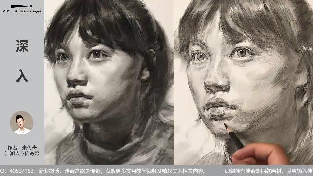 传奇绘画课堂回顾:第二三一集 女青年素描头像教学示范视频加速版