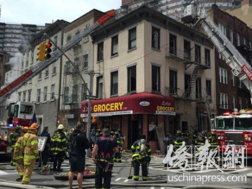 纽约曼哈顿华埠一店铺发生火灾 一名消防员受轻伤
