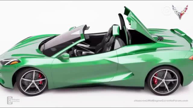 中置引擎的Corvette C8敞篷版渲染,C8将于7月18日全球首发。