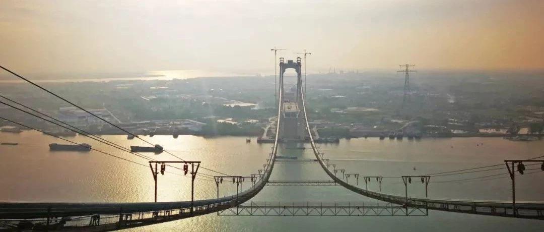 刚刚,五峰山长江大桥主缆架设完成!连云港到南京又近了一步