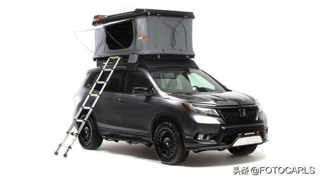 本田Passport 改装版,比冠道帅多了,车顶搭个帐篷看星星!