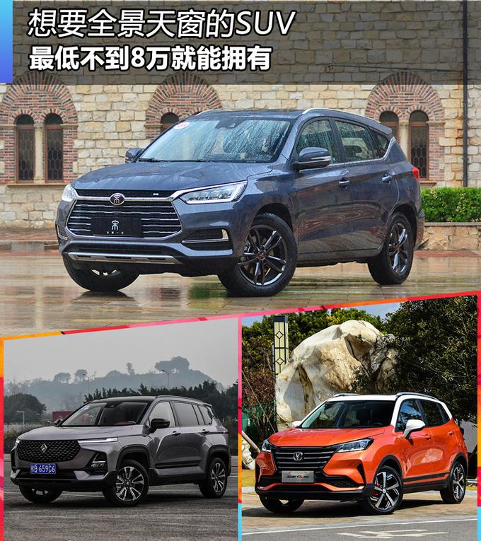 想要全景天窗的SUV,最低不到8万元,哪几款可以选?