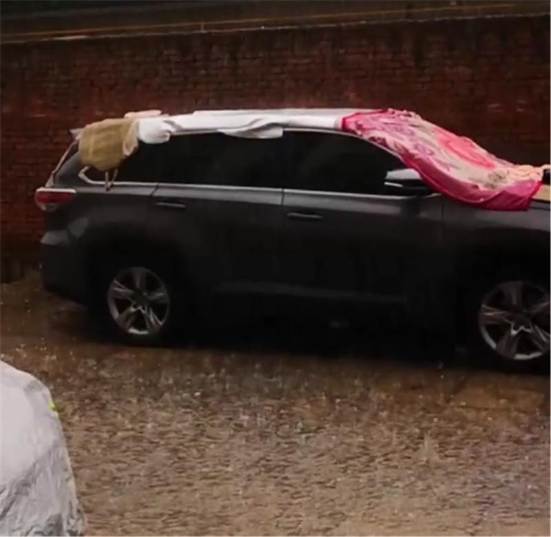 24万汉兰达现街头,为避免冰雹,车主直接盖上被子,避免损伤