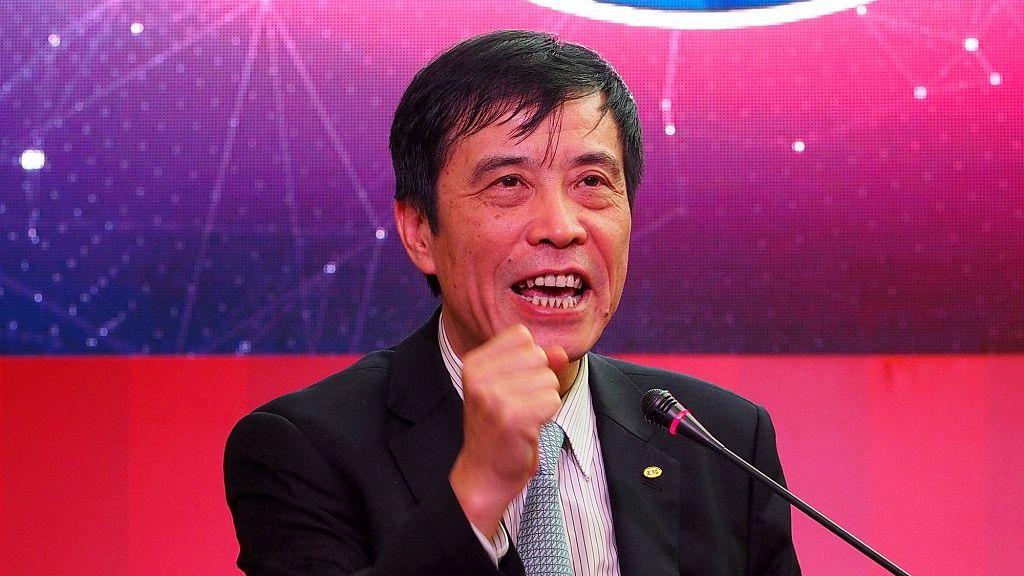 陳戌源在上港俱樂部新賽季動員會上講話。圖/視覺中國