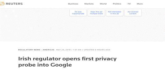 用户不知情下数据被卖 爱尔兰对谷歌开展首次调查