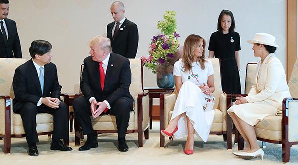 日本天皇夫婦會見作?國賓訪問日本的川普夫婦。 視覺中國 圖