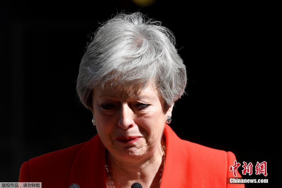 """資料圖:當地時間2019年5月24日,英國首相特蕾莎·梅在與""""1922委員會""""主席布雷迪會面後宣佈,將於6月7日辭去黨首職位,並於6月10日開始的一週開啓保守黨領導權爭奪戰,在新任黨魁選出後,她將卸任首相一職。"""