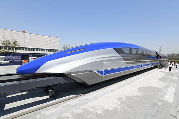 5月23日在青岛拍摄的我国时速600公里高速磁浮试验样车。 新华社 资料图