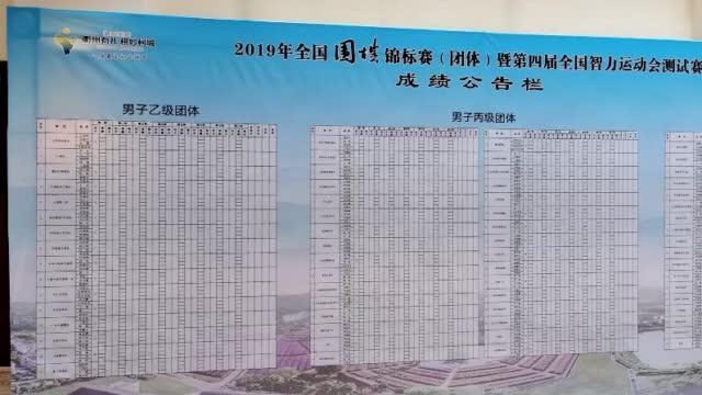 2019全国围棋团体锦标赛在衢州开战,赛场边的成绩公告栏 ()