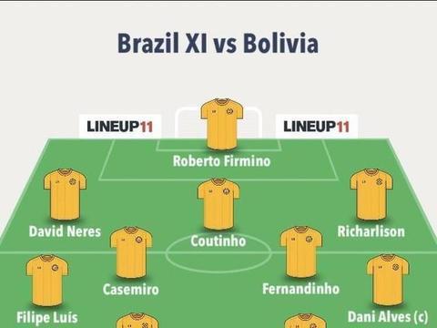巴西vs玻利维亚首发:弟媳领衔,菲尔米诺首发