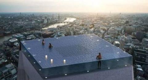 全球首座高空360度无边际泳池概念图,网友:怎么上去?