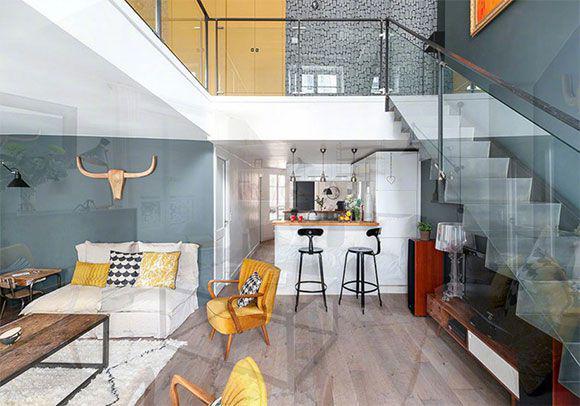 48㎡复式公寓装修,不仅住下一家三口,卫生间还能装浴缸!