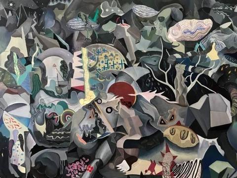 颇有毕加索风格油画作品由厦门大学美术系毕业生王开良创作