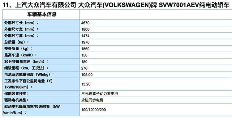 综合续航278km,预计售价15万左右,大众朗逸电动版7月上市
