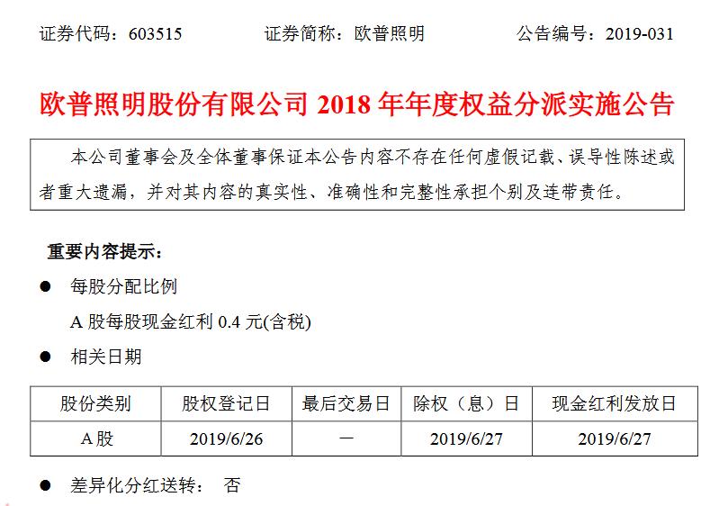 欧普照明:2018年度派发现金红利3.02亿元