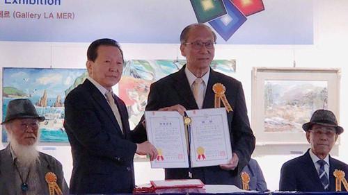 翰林院文化艺术中心优秀书画家参加韩国国际美术大展取得圆满成功