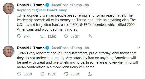 被骂智障后,特朗普:敢动美国一根毫毛,铲平伊朗
