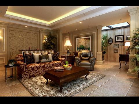 济南中海铂宫古典美式风格设计效果图
