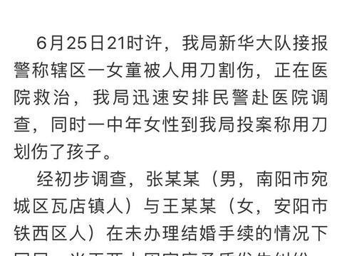 河南南阳一女子持刀划伤恋人的9岁女儿 已被拘留