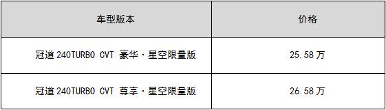 冠道(AVANCIER)星空限量版上市 25.58万-26.58万