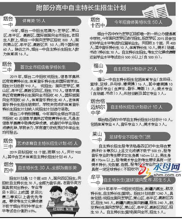 公办普通高中自主特长招生启动 7月9日发放录取通知书