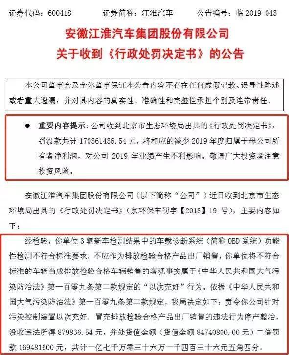 被罚1.7亿 江淮汽车曾有前科