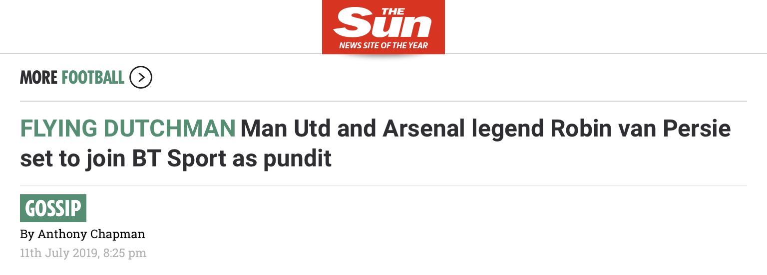太阳报:范佩西将担任英国电信体育解说