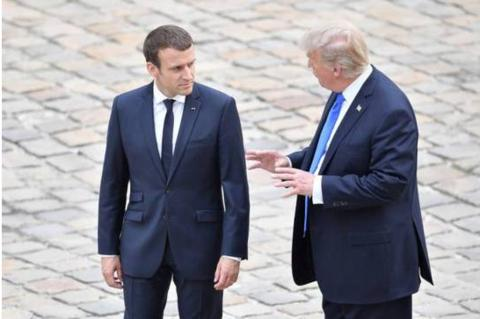 美国总统特朗普与法国总统马克龙(图源:新华社)
