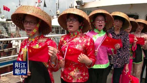 阳东东平:渔民齐唱国歌颂祖国