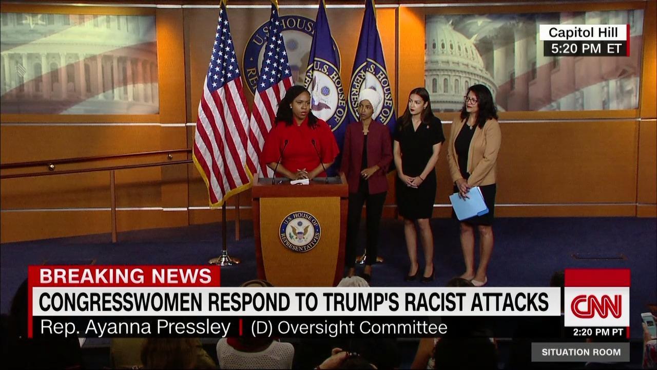 四名民主党少数族裔女议员开发布会回击特朗普