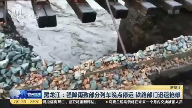 黑龙江:强降雨致部分列车晚点停运  铁路部门迅速抢修