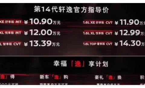 百公里仅4.9L的小号天籁,10.90万起售,东风日产全新轩逸上市