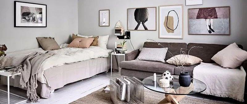 36㎡北欧风单身小公寓,分区收纳,卧室和起居室合并,一个人住也太棒了!