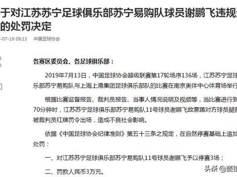 足协罚单:苏宁遭重创2将被罚,叶重秋禁赛6场谢鹏飞禁赛3场